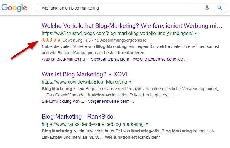 Bewertungen im Google Suchergebnis