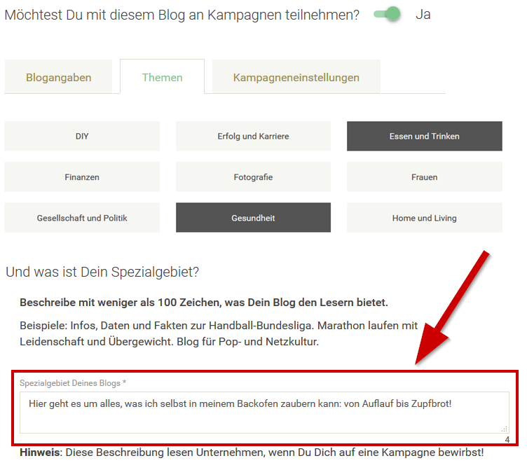 Spezialgebit Deines Blogs