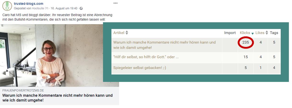 Screenshot: eine Empfehlung via Facebook