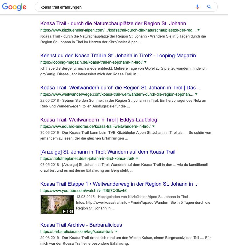 Google-Suchergebnis zu 'koasa trail erfahrungen'