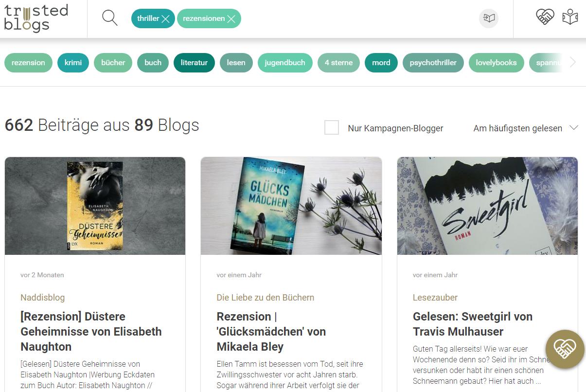 Screenshot: Blogposts zu einem Stichwort